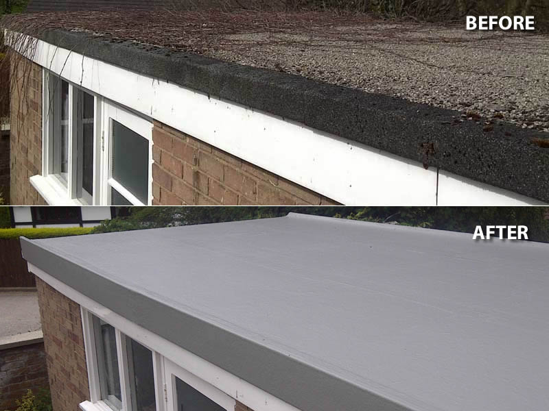 before and after flat roofing in telford